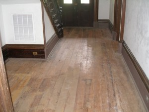 Heart pine floor Hallway area before we sanded