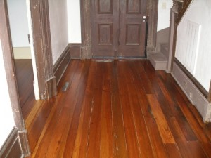 The other end of the hallway area after the heart pine floors were restored