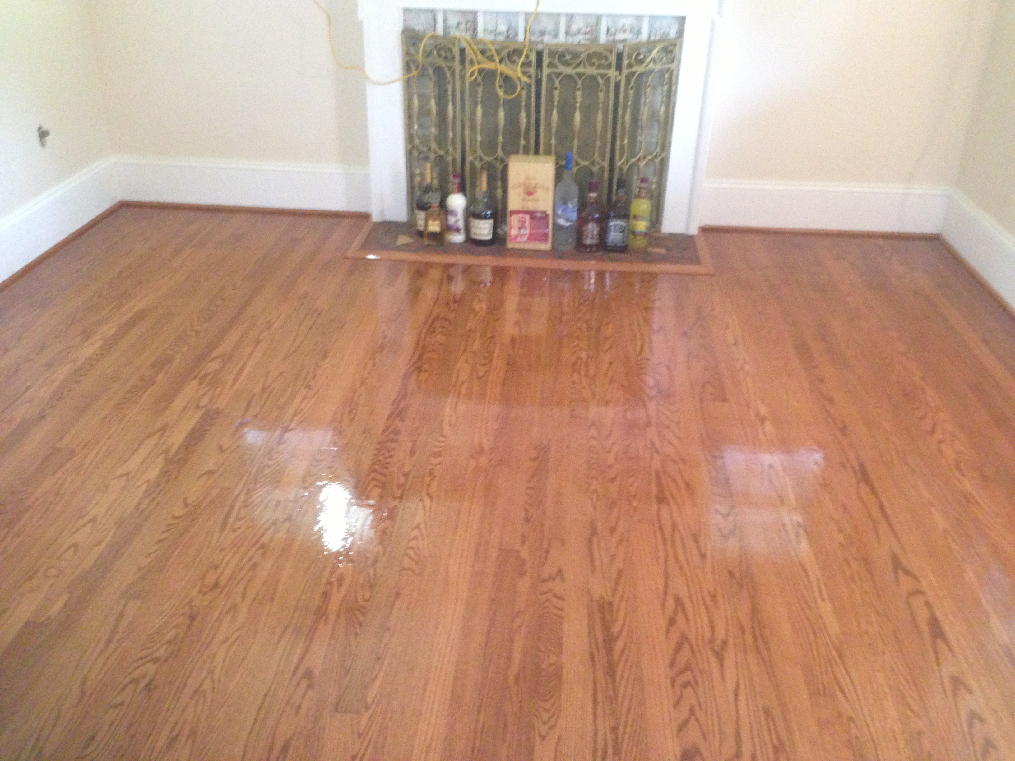 stained sanded hardwood floor
