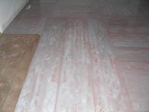 Restoration using decorative concrete overlay mix made to look like hardwood